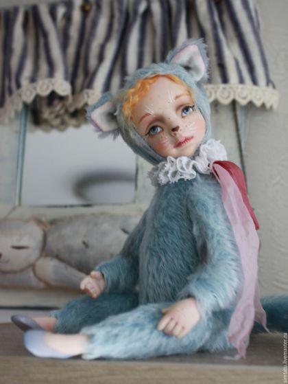 Коллекционные куклы ручной работы. Ярмарка Мастеров - ручная работа. Купить Тедди-долл Кошечка Зора. Handmade. Голубой, кошечка