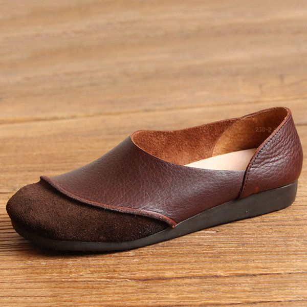 Socofy Genuine Leather Color Match Soft Flat Slip On Loafers