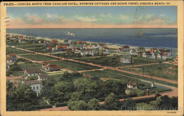 Virginia Beach VA Looking North from Cavalier Hotel, Showing Cottages & Ocean Front