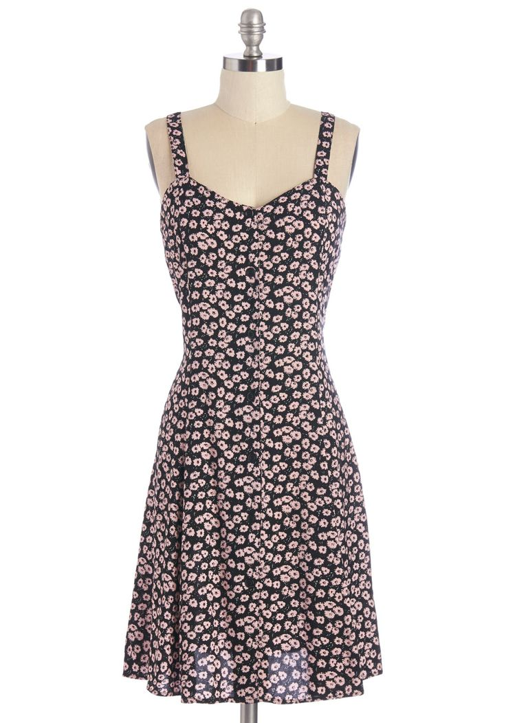 Nights and Daisies Dress in Pink. Like floating flower petals, this lovely black dress will flutter softly in the breeze.  #modcloth