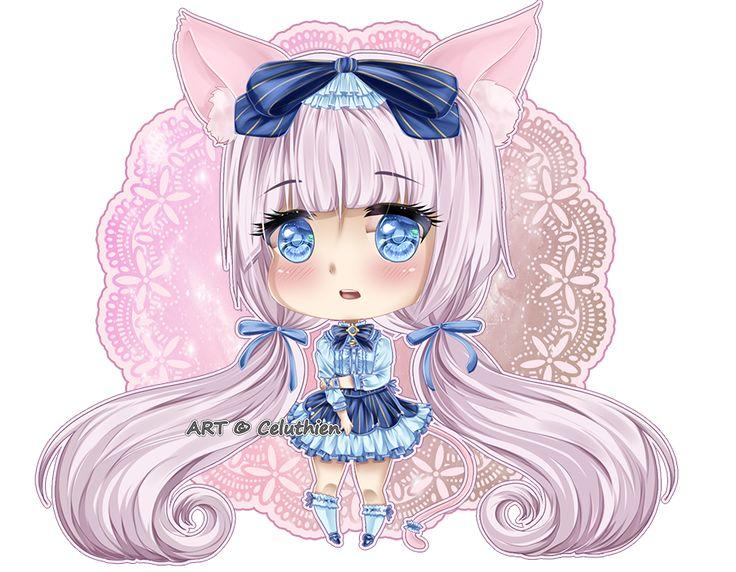 #bible #blue #chibi #cute #dress #eyes #girl #hair #kawaii #neko #para #paradise #pink #ribbons #vanilla