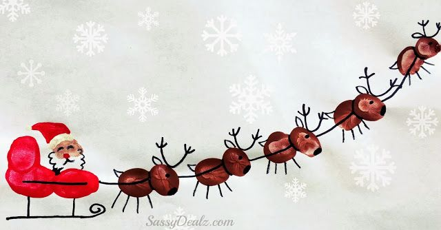 Learn how to make fingerprint santa's sleigh and his reindeer for a Christmas craft! Kids will love making this for a homemade card.