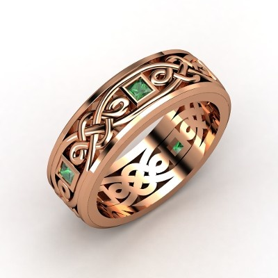 The Alhambra Knot Band...Love It. Emeralds in Rosegold!