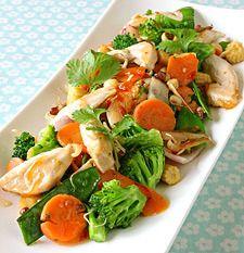 Kyllingwok med grønnsaker og oystersaus