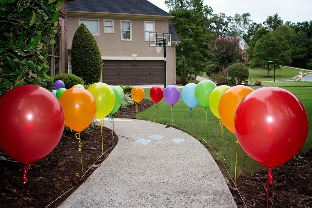 Tie balloons with golf tees
