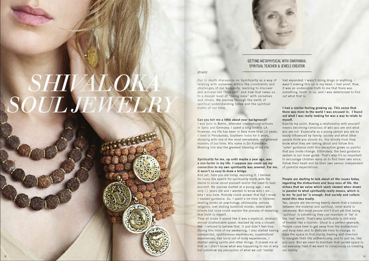 FAUVE magazine interview with SHIVALOKA's founder, Swathimaa