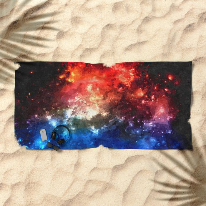 "Colorful #galaxy, blue and red #nebula, #space themed pattern, oil paint #beach #towel Lay out like a pro with this super comfy, oversized and unique artist-designed Beach Towel. The soft polyester-microfiber front and cotton terry back are perfect for, well, drying your front and back. This design is also available as a bath and hand towel. Machine washable. Towel Dimensions: 74""x37"" #space #cosmic #black #dark #deep #red #blue #stars #design"