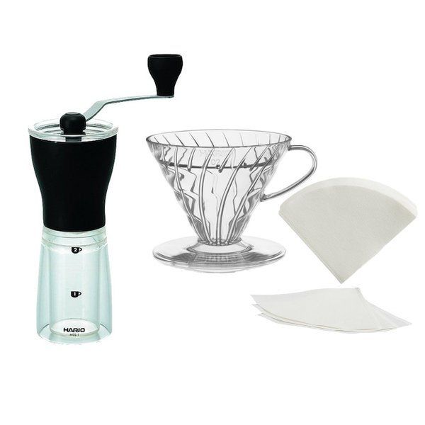 Buy this bundle to brew delicious pour-over coffee on the road with a high quality & durable grinder and coffee dripper from Hario