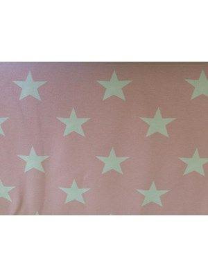 Bomuldsjersey - lyserød med stjerner