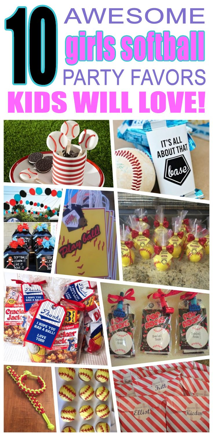 Great girls softball party favors kids will love. Fun and cool girls softball birthday party favor ideas for children. Easy goody bags, treat bags, gifts and more for boys and girls. Get the best girls softball birthday party favors any child would love to take home. Loot bags, loot boxes, goodie bags, candy and more for girls softball party celebrations.