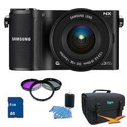 Samsung NX210 20.3 MP Compact System Camera with 18-55mm Lens PRO Kit by Samsung. $899.00. Shoot, edit and share in the blink of an eye. Striking a balance between resolution, performance and design, the Samsung NX210 unleashes the professional photographer in all of us. Its sensitive 20.3MP APS-C CMOS Sensor helps you capture richly nuanced, highly defined images in the blink of an eye. And WiFi connectivity frees you from the usual web of wires and cables. Style and Pe...