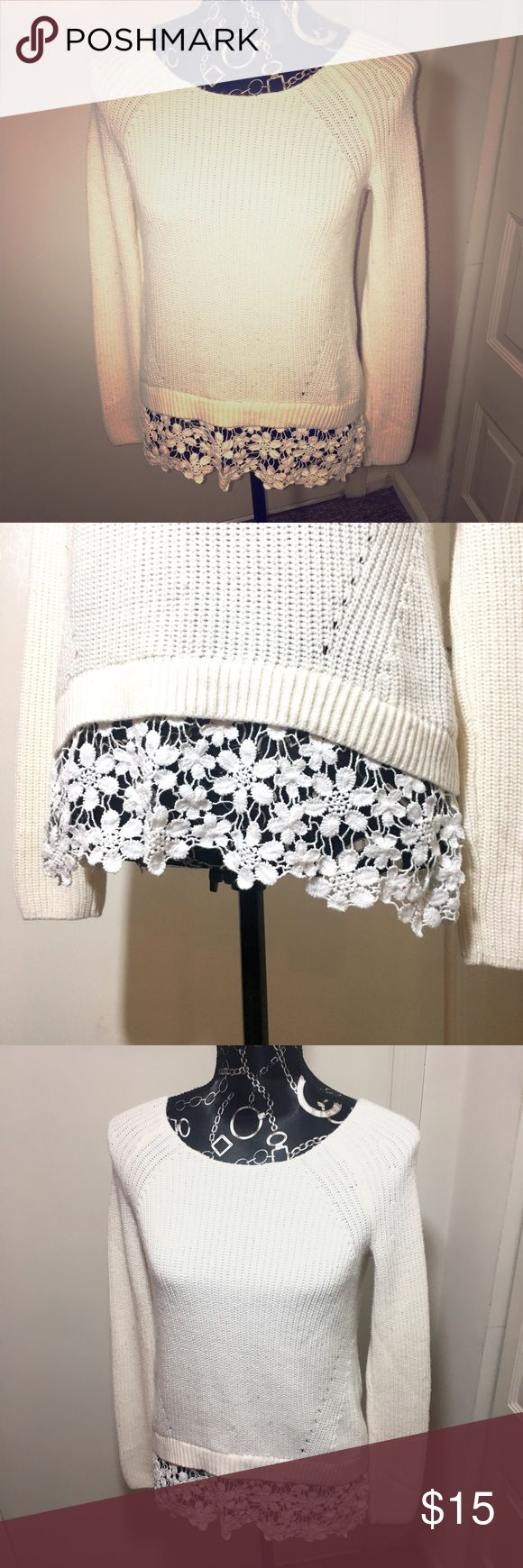 Cream Sweater with Lace Detail Adorable nearly new INC cream sweater with white lace embellishment. INC International Concepts Sweaters