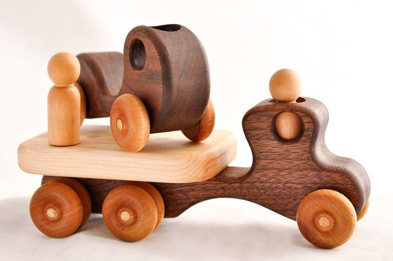 Wooden Toy Car and Truck in Walnut by asummerafternoon on Etsy, $38.00