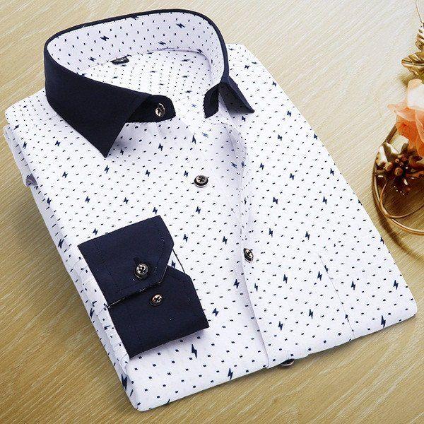 Men Polka Dot Printed Fashion Slim Long Sleeve Shirts Casual Polyester Dress Shirt 19 Color - Loluxe - 19