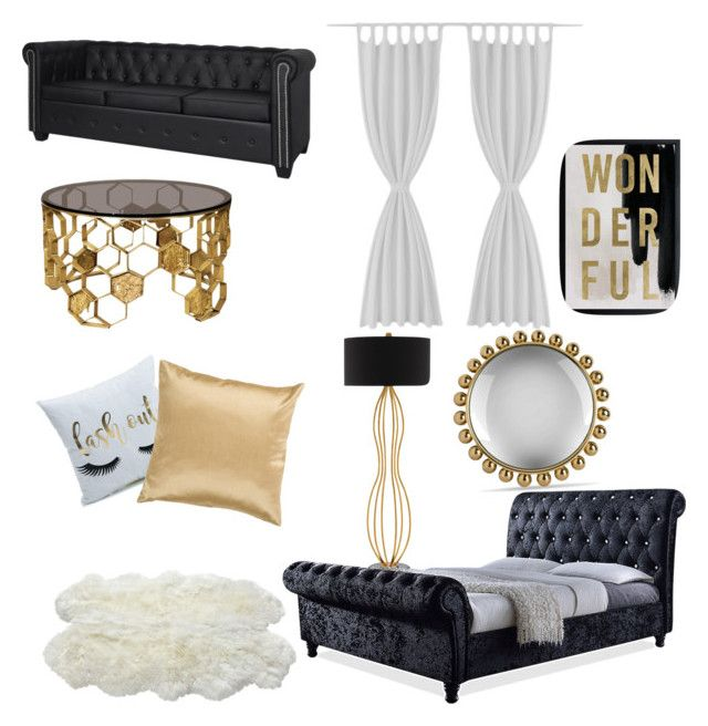"""""""black and gold dorm."""" by lfumbani on Polyvore featuring interior, interiors, interior design, home, home decor, interior decorating, Currey & Company, Luxe Collection, Oliver Gal Artist Co. and Surya"""