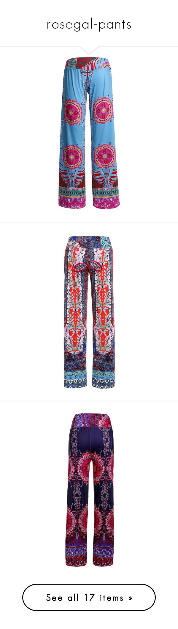 """rosegal-pants"" by fshionme ❤ liked on Polyvore featuring pants, bohemian pants, boho palazzo pants, straight pants, palazzo trousers, blue trousers, tribal print pants, palazzo pants, wide leg palazzo pants and tribal print trousers"