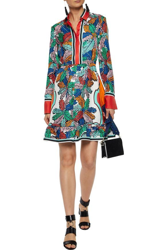 separation shoes f0bc1 6f0b2 Fluted printed silk-twill mini shirt dress | EMILIO PUCCI ...