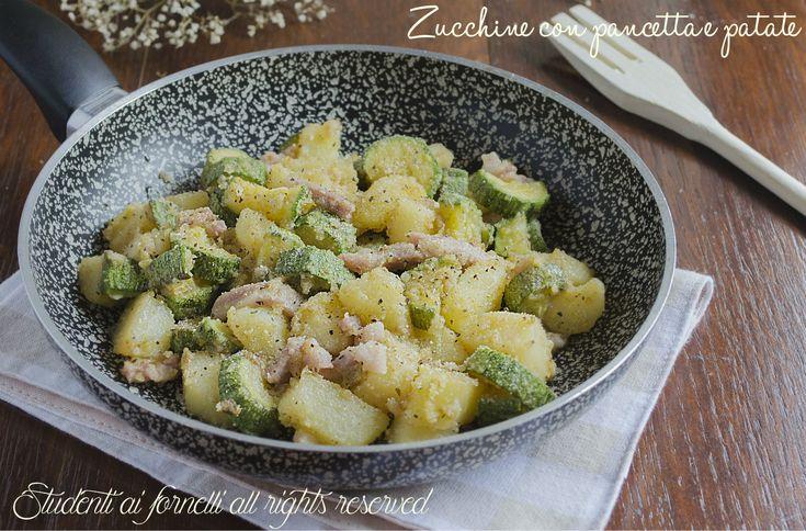 Le zucchine con pancetta e patate in padella sono un contorno sfizioso e anche sostanzioso ideale quando si va di fretta.