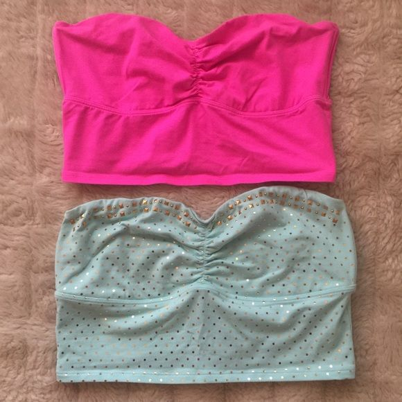 """Bundle Victoria's Secret  Pink Bandeau Tops 2 bandeaus for the price of one. One pink and the other green with gold polka dots and grommets. Both tops have the cute gold heart with a """"P"""" engraved in it. Victoria's Secret Tops Crop Tops"""