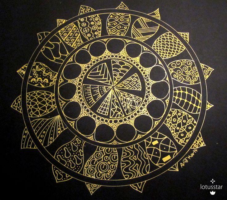'Leaf Mandala' in metallic ink by Elizabeth James. Original available via http://www.facebook.com/media/set/?set=a.675692062503221.1073741835.318539891551775&type=3  #mandala #zendala #zentangle #doodle #ink #art #elizabethjames #lotusstar #adelaide