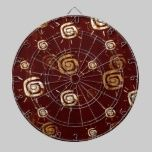 Contemporary Sun On A Red Background Pattern dartboards
