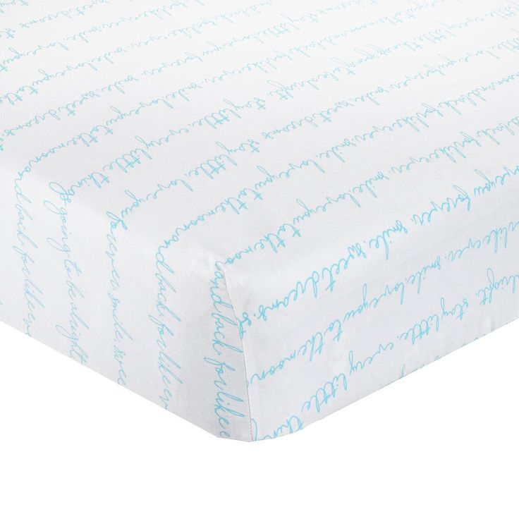 This charming fitted sheet from the CoCaLo Collection features sweet sentiments in aqua script on a white ground. The perfect complement to your crib bedding theme. Made from 100% cotton sateen and fits standard size crib mattresses (28 inch x 52 inch). Machine washable.<br><br>The CoCaLo White/Aqua Script Cotton Fitted Sheet Features:<br><ul><li>Contemporary gender neutral sheet</li><br><li>100% cotton</li><br><li&...