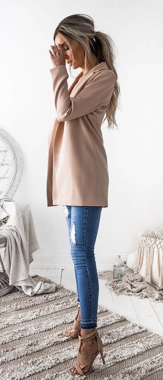 #summer #outfits Blush Cardigan + Ripped Skinny Jeans