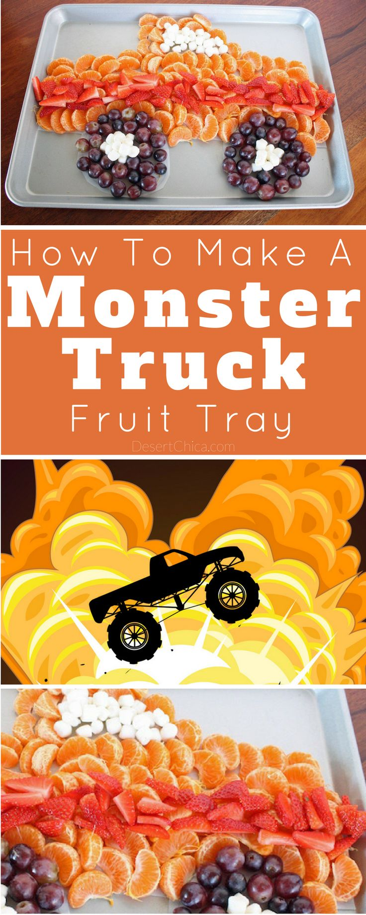 Headed to Monster Jam or having a monster truck themed party, check out this easy monster truck fruit tray. It's healthy, fun and yummy. via @DesertChica