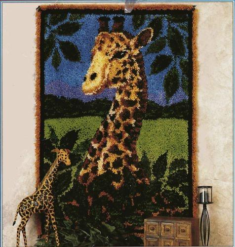 "RARE Caron Giraffe 27""x40"" Latch Hook Rug Pattern Only   eBay"