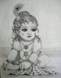 Image result for sketch little krishna