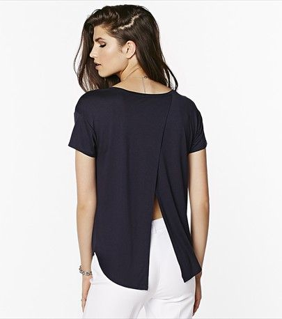 Get trendy with this cute navy tee featuring a gorgeous tulip back.