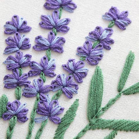Lavender With Pattern-Hand embroidery Floral Herb kit,Stitch Art,DIY hoop art ki…