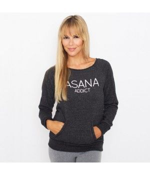 Asana Addict Raw Neck Triblend Fleece Sweatshirt Model Águeda López Clothes by Funky Yoga