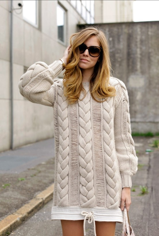 Chiara Ferragni wearing an oversized cableknit dress from the Tommy Hilfiger Spring 2013 Women's Collection.