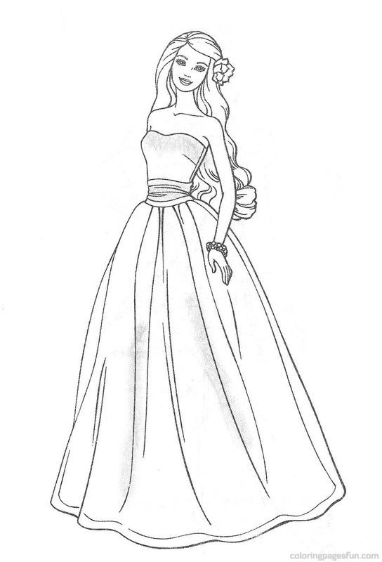 Retro Barbie Coloring Pages : Best dresses barbie coloring pages for girls beauty