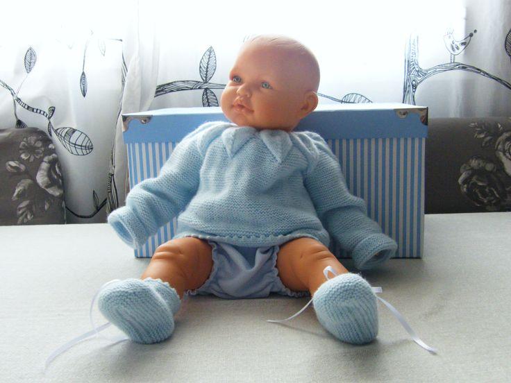 Conjunto chaqueta y patucos bebe de gotitasdecielo en Etsy