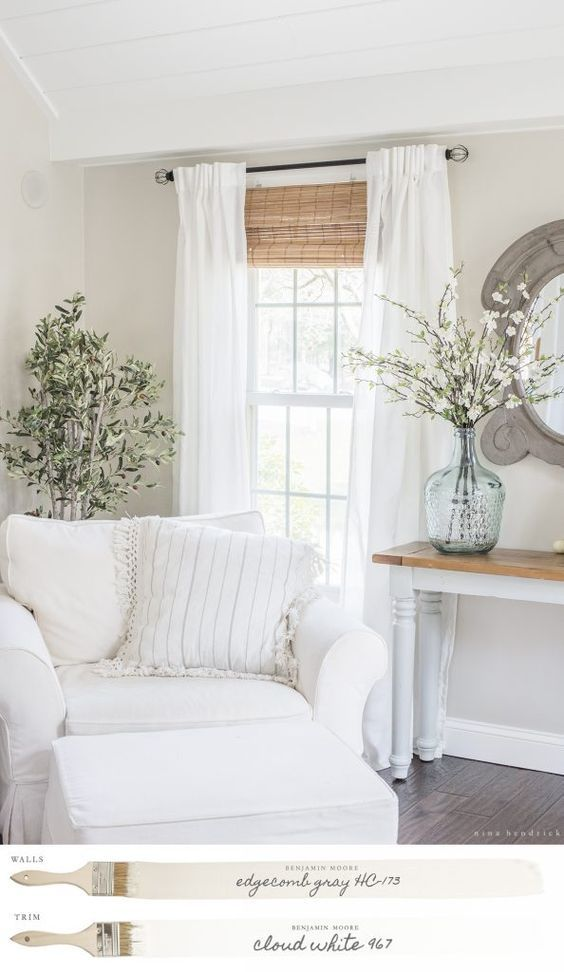 New England Farmhouse Neutral Paint Color Scheme Edgecomb Gray Family Room