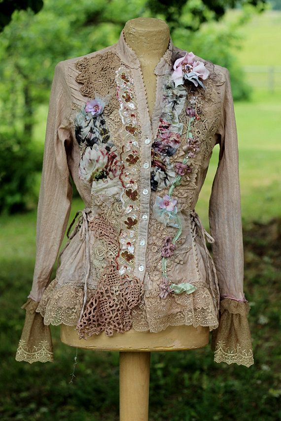 Morning garden jacket- romantic, bohemian, altered couture, shabby laces, hand embroidered details