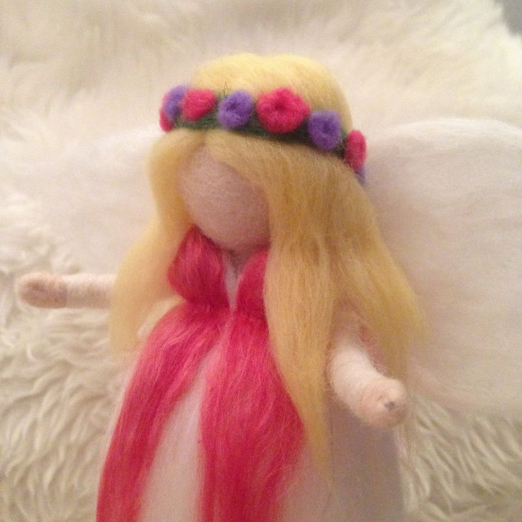 Blond waldorf inspired hippie guardian angel in pink with flowercrown by SoriaMoriaWool on Etsy