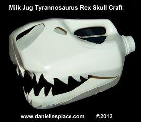 Milk Jug Tyrannosaurus Rex Skull Craft www.daniellesplace.com