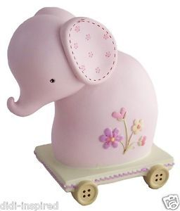 Baby Resin Money Box - Elephant with Pink Butterfly Christening Gift & Newborn | eBay