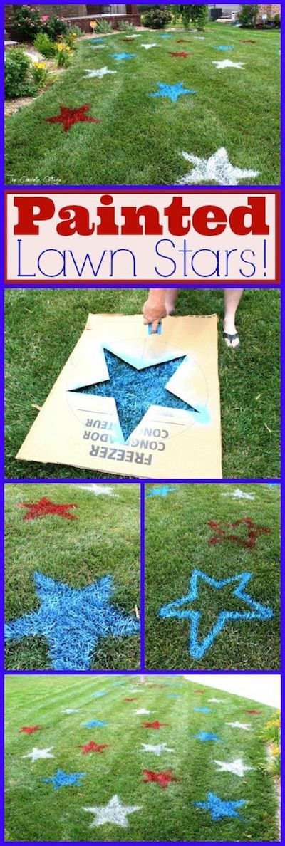 A piece of old cardboard with a star cut out, some construction marking spray paint is all you need to make your yard look patriotic this summer! Great idea -