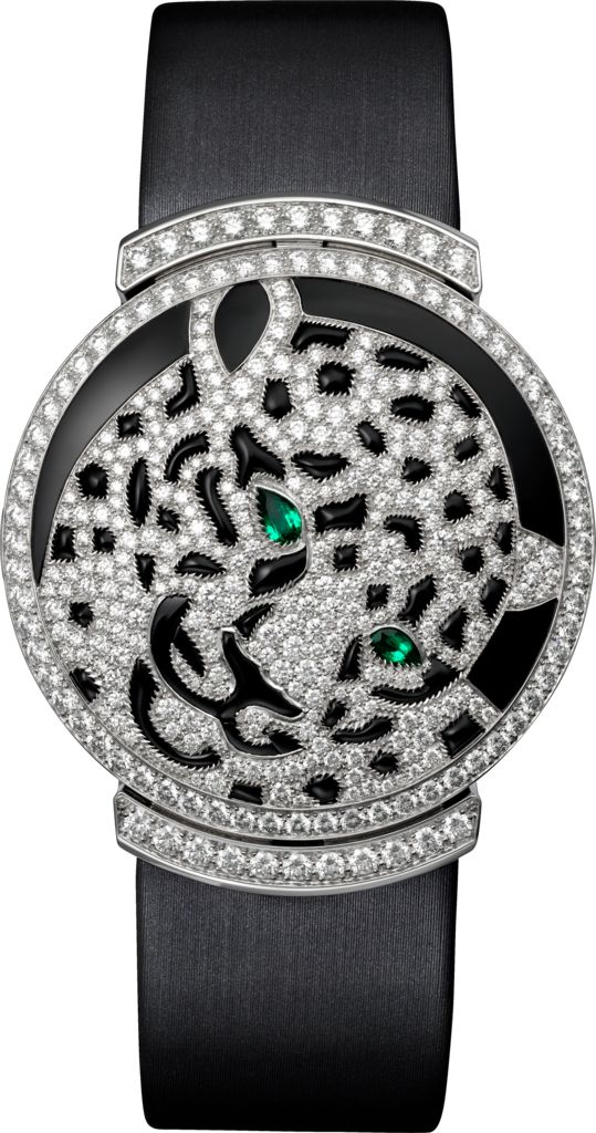 Cartier High Jewelry Watch Small model, 18K white gold, emeralds, onyx, diamonds