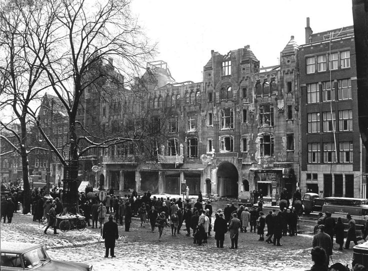 After the fire in the C&A Damrak Amsterdam 1963