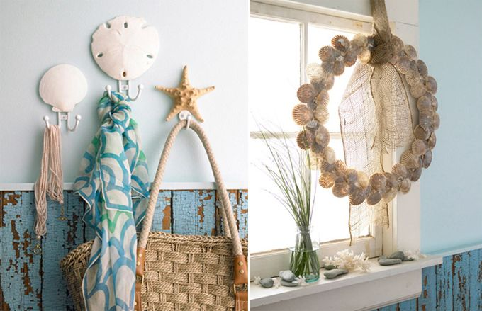 Great idea to use sand dollars, starfish, etc. to decorate hanging hooks for towels, hats, or bags!