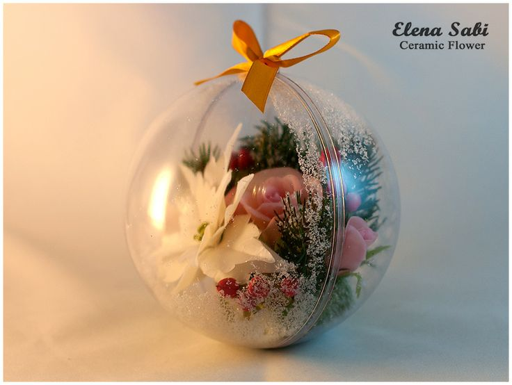 Cold porcelain flower. Air-dry poliner clay. Christmas ball.