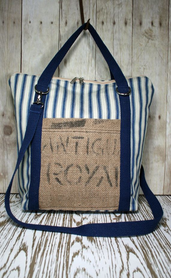 Handmade Blue Ticking and Burlap Tote / Handbag by TurtleDoveBags, $85.00
