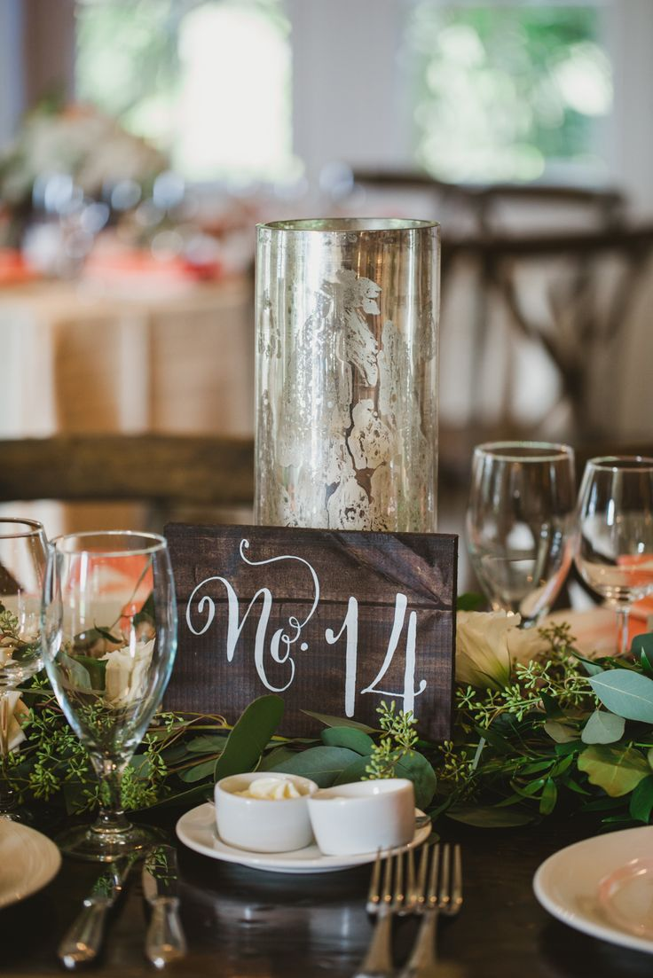 Painted Wood Table Number | photography by http://www.julietelizabeth.com/