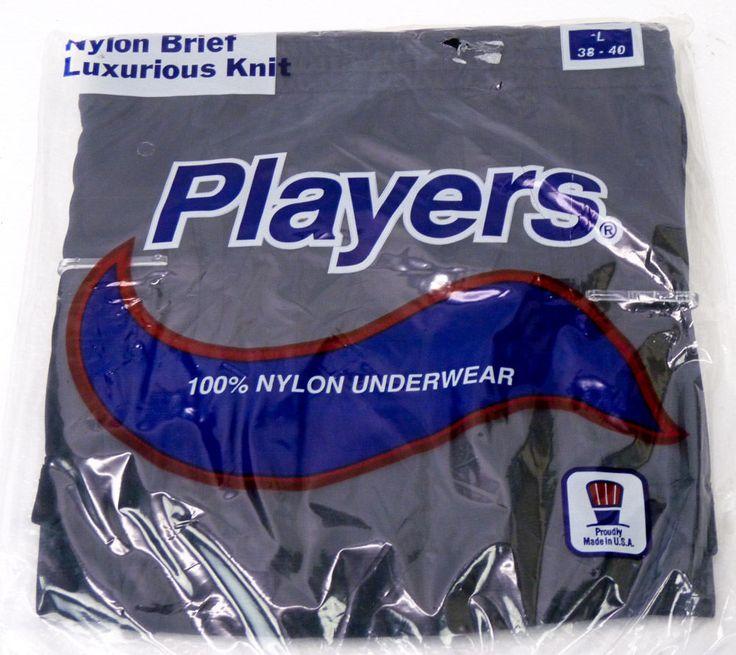 NOS Vintage Players 100% Nylon Briefs Underwear Mens L 38-40 BLACK 80s 90s NOS #Players