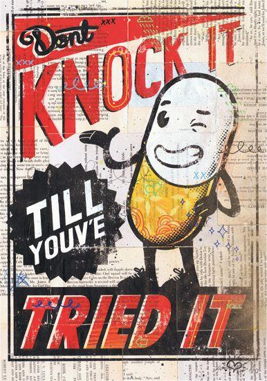 Knock it till you've tried it.: Sam Bevington, Poster Design, Knock, Illustrations, Art, Graphicdesign, Graphics Design, Poster Prints, True Stories